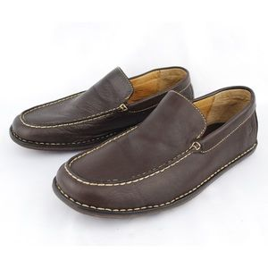 Born Men's Brown Leather Moc Toe Loafers